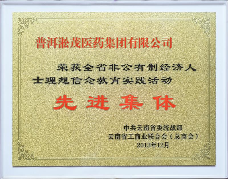 2013年—云南省非公有制经济人士理想信念教育实践活动 先进集体